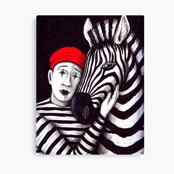 Zebra and Mime pen, ink, and colored pencils drawing Canvas Print