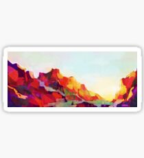 Sunset Mountains Scenery Painting Sticker
