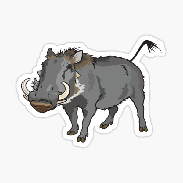 Retro Wild Boar Warthog Design Sticker