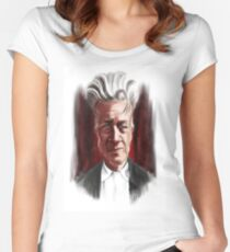 David Lynch Caricature Portrait Women's Fitted Scoop T-Shirt