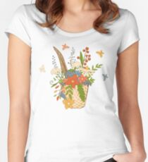 Basket with a bright bouquet of flowers. Women's Fitted Scoop T-Shirt