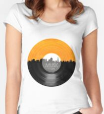 Music Is Life Record T Shirt Women's Fitted Scoop T-Shirt
