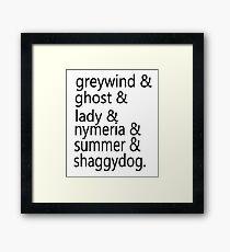 Direwolf Names Framed Print