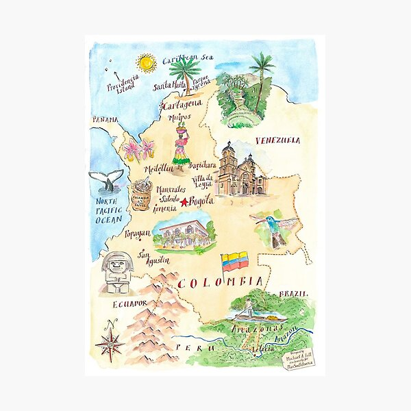 Colombia Map Painting Photographic Print