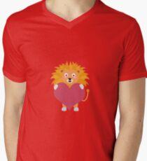 Lion with big heart Mens V-Neck T-Shirt