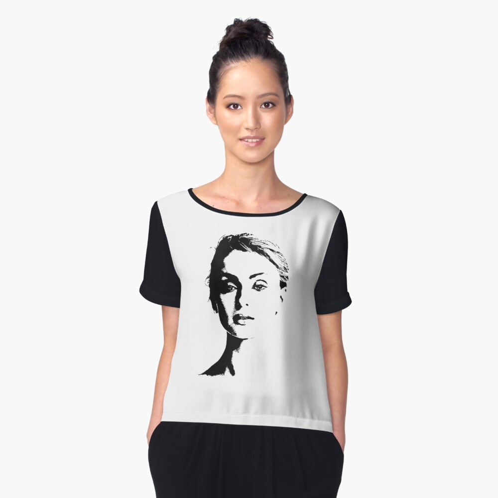 High Contrast Sophie Turner Women's Chiffon Top Front