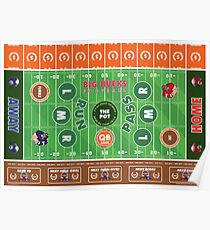 Big Bucks Football - Brown & Orange Poster