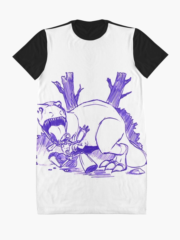 Alternate view of Dinosaurs And Robots- blue version Graphic T-Shirt Dress
