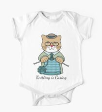Knitting is Caring, cat man One Piece - Short Sleeve