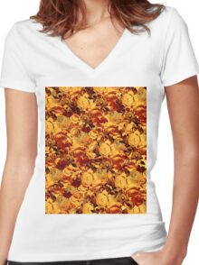 Textured Flowers Antique Women's Fitted V-Neck T-Shirt