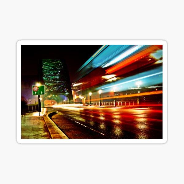 Tyne Bridge - Passing Traffic at Night Sticker