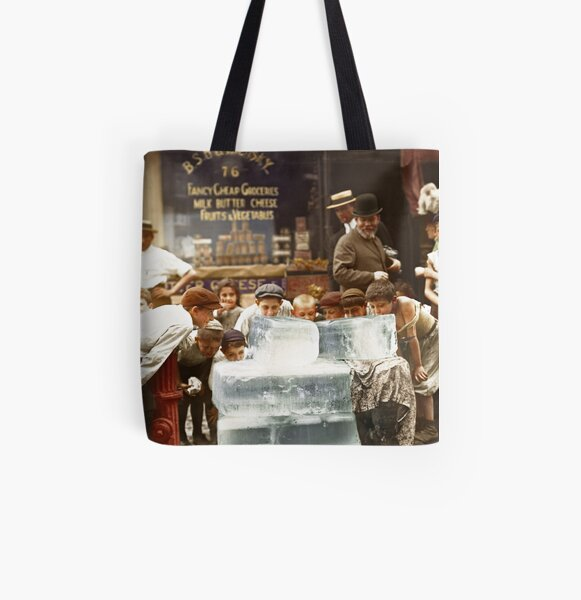 Licking blocks of ice during heat wave in New York, July, 1911 All Over Print Tote Bag