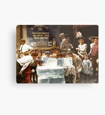 Licking blocks of ice during heat wave in New York, July, 1911 Metal Print