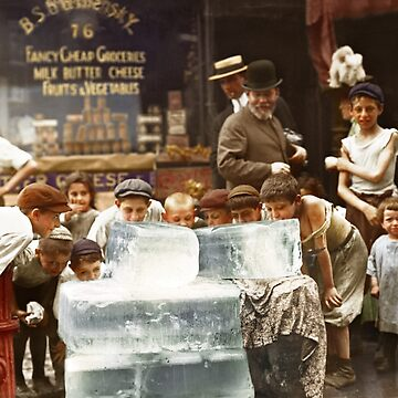 Licking blocks of ice during heat wave in New York, July, 1911 by SannaDullaway