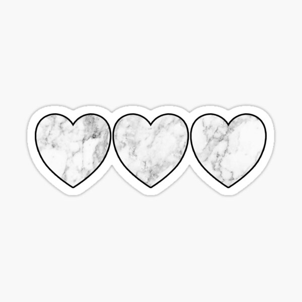 white marble hearts Sticker