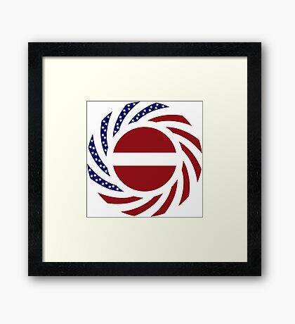 Latvian American Multinational Patriot Flag Series Framed Print