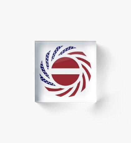 Latvian American Multinational Patriot Flag Series Acrylic Block