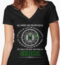 Happy GEMINI Women's Fitted V-Neck T-Shirt