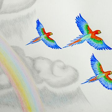 Three Flying Rainbow Parrots by Langie