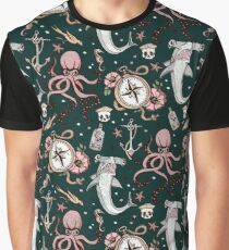 Dark Sea Creature Pattern Graphic T-Shirt