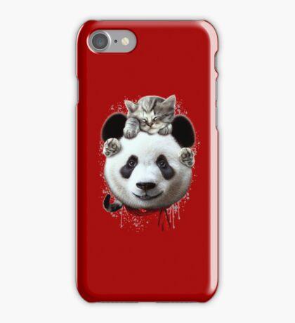 CAT ON PANDA iPhone Case/Skin