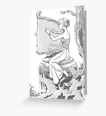 Woman Playing the Harp Greeting Card