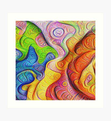 Color Cracks #DeepDream Art Print