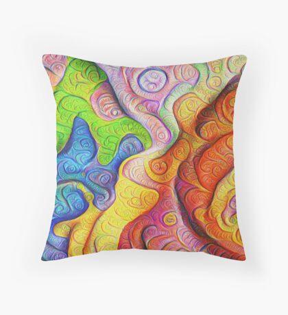 Color Cracks #DeepDream Throw Pillow