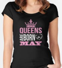 Queens are born in may T-shirt Women's Fitted Scoop T-Shirt