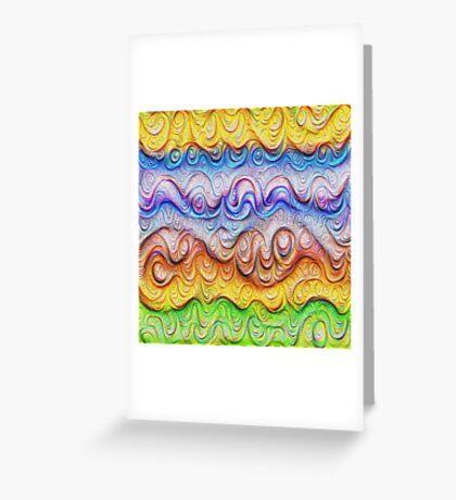 Tropical sea liquid lines and waves #DeepDream Greeting Card