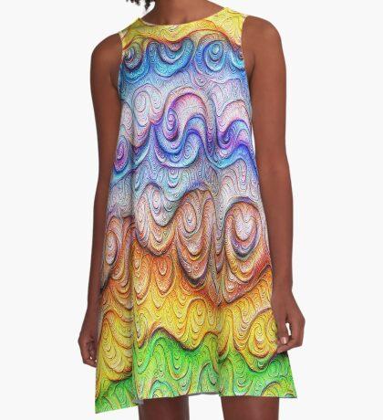 Tropical sea liquid lines and waves #DeepDream A-Line Dress