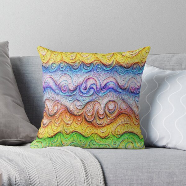 Tropical sea liquid lines and waves #DeepDream Throw Pillow