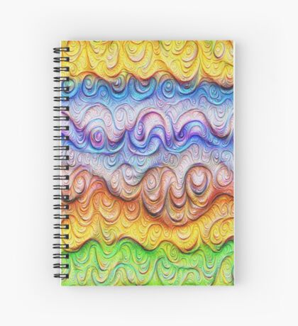 Tropical sea liquid lines and waves #DeepDream Spiral Notebook