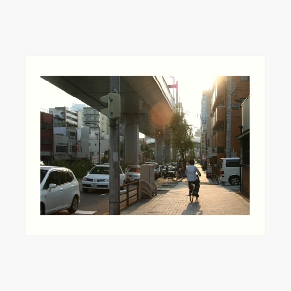 Bicyclist in Nagoya, Japan Art Print