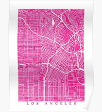 Los Angeles Map (Pink) Poster