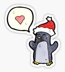 cartoon penguin with love heart Sticker
