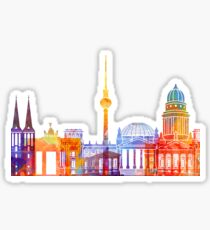 Berlin landmarks watercolor poster Sticker