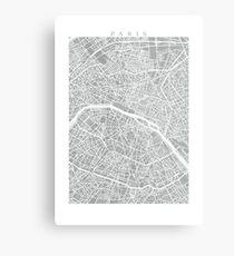 Paris Map (Light Grey) Metal Print