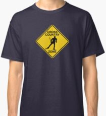 Cross Country Skiing Zone Road Sign Classic T-Shirt
