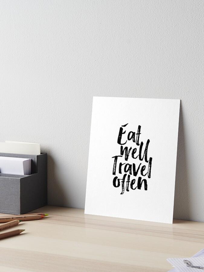 Eat Well Travel Often Swirl Quote Print Watercolour Wall Art