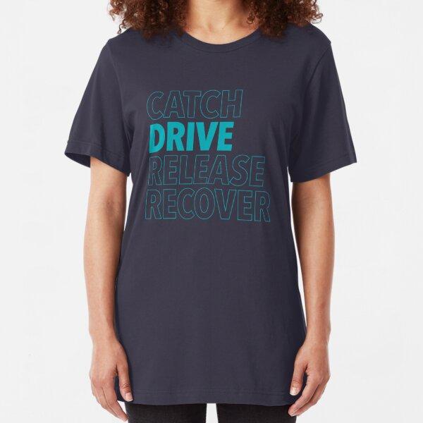 Catch, Drive, Release, Recover (Aqua) Slim Fit T-Shirt