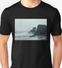 San Francisco Fog - Golden Gate Bridge Emerging from the Milky Mists Unisex T-Shirt