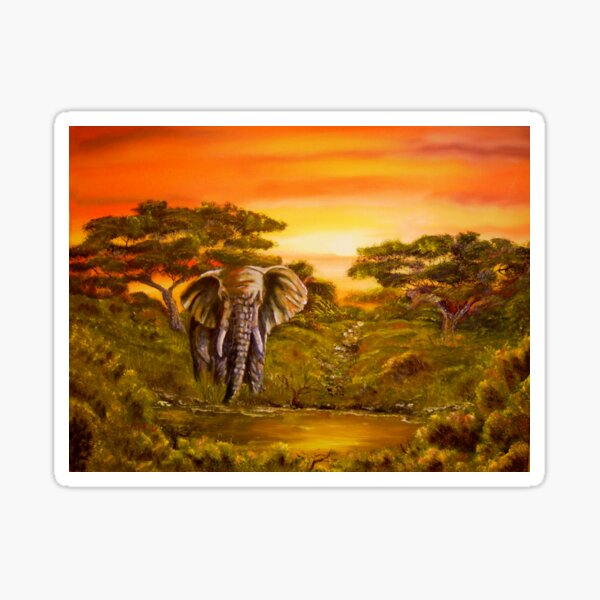 Elephant at Water Hole Sticker