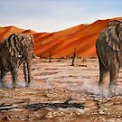 """Elephants - Namib Trek"" - oil painting by Avril Brand"