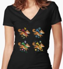 Woodland Foxes with Scarves: Four Seasons  Women's Fitted V-Neck T-Shirt