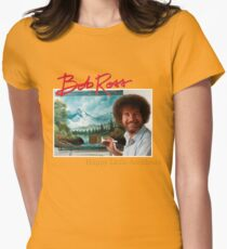 Bob Ross 90s Print Womens Fitted T-Shirt