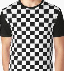 Black Checkered Pattern Graphic T-Shirt