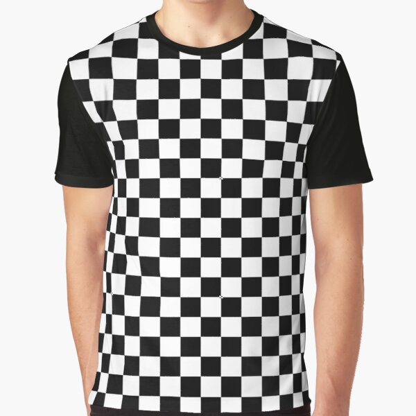Black Checkered Pattern Graphic T-Shirt