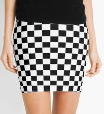 Black Checkered Pattern Mini Skirt
