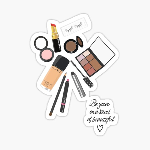 Sé tu propio tipo de hermosa obra de arte, maquillaje, arte cosmético Pegatina